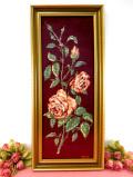 <英国ミッドセンチュリー>美しいハンドメイド♪縦54cm英国のバラのお花の刺しゅうのとても大きな縦長の額