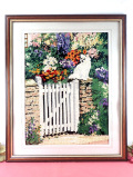 <英国ハンドメイド>満開のお花たちと白いゲートの猫ちゃん♪全長55.5cmとても大きな手刺しゅうの額