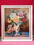 <英国ミッドセンチュリー>美しいハンドメイド♪縦55cm英国のバラのお花の手刺しゅうのとても大きな額