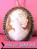 <英国スターリングシルバー>1920年代:優雅な銀細工♪美しい女性の横顔のシェルカメオの2WAYのアンティーク・ネックレス
