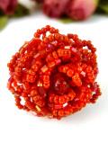 1950年代:赤い薔薇のお花♪ビーズ細工が豪華な珍しいスカーフリング