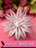 <英国ビンテージ>銀線細工のお花♪繊細なフィリグリーシルバーが美しいブローチ:通常価格4370円→