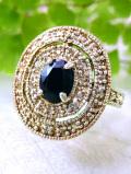 <英国スターリングシルバー>透明な強い輝きのサファイヤ♪キラキラ輝く銀細工がきれいな指輪「15号」