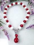 <英国コスチュームジュエリー>赤と白のヨーロピアンガラス♪あざやかで美しい英国ビンテージの2WAYネックレス