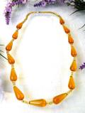 1940年代:美しいオレンジアンバーのヨーロピアンガラス♪ガラス細工が優雅な英国アンティークのネックレス