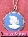 <英国スターリングシルバー:ウェッジウッド>優雅な女神様の横顔のレリーフ♪上品なブルージャスパーのまあるいネックレス:通常価格12980円→
