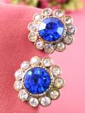 1940年代:青い輝きのヨーロピアンガラス♪キラキラ輝くクリスタルガラスのお花のイヤリング