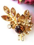 <英国ビンテージ>キラキラ輝くクリスタルガラス♪とても大きなまばゆい光のお花のブローチ