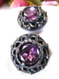 1950年代:紫色の大きなお花♪大粒アメジストが美しいアートフルなイヤリング