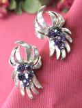 <英国ビンテージ>あまりにも優雅な輝き♪紫の果実のようなアメジストのイヤリング