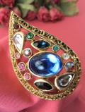 <英国コスチュームジュエリー>1950年代:ピーコックフェザー♪クリスタルとヨーロピアンガラスが美しい大きなブローチ