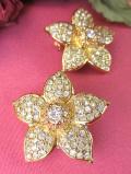 <英国ビンテージ>1960年代:クリスタルがキラキラ光る金色のお花のイヤリング