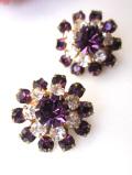 <英国ビンテージ>あまりにも優雅な輝き♪紫のアメジストと透明なクリスタルのイヤリング