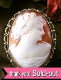 <英国スターリングシルバー>1920年代:優雅な銀細工♪美しい女性の横顔のシェルカメオの2WAYブローチ