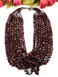 <アン・クライン>アメリカの人気のファッションブランド♪濃く深い赤のヨーロピアンガラスの豪華な8連ネックレス