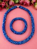 <英国ミッドセンチュリー>青い輝きが素晴らしいヨーロピアンガラスビーズのネックレス&ブレスレッド「2点セット」