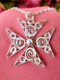 <英国スターリングシルバー>1940年代:アンティークレースのような銀細工のお花♪繊細なフィリグリーシルバーが美しいネックレス