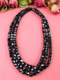 <英国ミッドセンチュリー>シックな黒いヨーロピアンガラス♪全長120cm優雅なロングネックレス