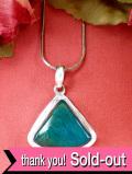 <英国スターリングシルバー>青緑色が神秘的に輝く天然石アズライト♪銀細工も美しいネックレス