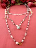 <英国ミッドセンチュリー>真珠色の優雅な輝き♪たくさんの淡水パールとヨーロピアンガラスの3連ネックレス