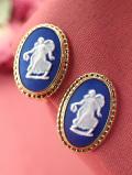<ウェッジウッド:ゴールドプレート>ロイヤルブルージャスパーの踊る女神様の素晴らしいイヤリング「当時のお箱付き」