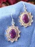 <英国スターリングシルバー>コッパーが入った紫色のターコイズ♪銀細工も素晴らしい貴重なピアス