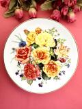 <THE ROYAL NATIONAL ROSE SOCIETY>「RADIANT SUNRISE」♪満開のバラたちの華やかな絵皿