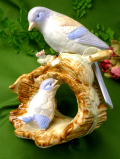 1950年代:幸せを運ぶ青い鳥♪英国の野鳥さんの親子のとても大きなポーセリンフィギュア