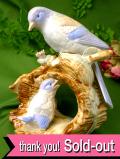 1950年代:幸せを運ぶ青い鳥♪英国の野鳥さんの親子のとても大きなポーセリンフィギュア:通常価格6020円→