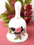 <ウェッジウッド>1956年:廃盤レア♪ピンクの薔薇ハサウェイローズ♪ボーンチャイナに咲いた優雅なバラのポーセリンベル