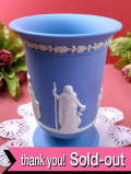 <ウェッジウッド>3人の女神様と2人の天使たち♪ブルージャスパーの素晴らしいレリーフの大きなフラワーベース:通常価格8220円→