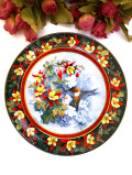 <Royal Doulton:限定品>愛らしいハミングバードとお花たち♪金彩もきれいな絵皿「スタンド付き」