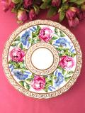 <COALPORT:限定品>「Pink Rose and Convolvulus」♪優雅な大輪のバラとモーニンググローリーの絵皿「お箱&スタンド付」