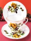 <Royal Grafton>1950年代:優雅な英国のバラたち♪たっぷりとした金彩も美しいお花たちのトリオ