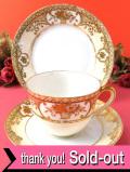 <オールドノリタケ>1908〜26年:豪華なお花たち♪とても貴重な金盛りのトリオ「トリオ専用スタンド付」