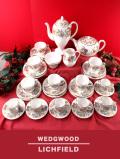 <廃盤レア♪ウェッジウッド>超レア♪1950年代:美しいアスターのお花「LICHFIELD(リッチフィールド)」のティー&コーヒーセット「34点組」