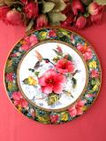 <FRANKLIN MINT:限定品>「The Imperial Hummingbird」愛らしいハミングバードとお花たち♪金彩もきれいな絵皿「スタンド付」