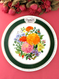 <RHS:英国王立園芸協会>「The 1989 Chelsea Flower Show Plate」♪イングリッシュガーデンのお花たちの絵皿「プレートハンガー付」