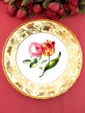 <COAL PORT:限定品>「Pink Rose and Tulip」♪バラとチューリップと素晴らしく豪華な金彩の絵皿「プレートハンガー付」