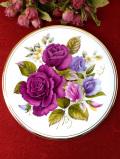 <英国ビンテージ>華やかな大輪のバラたち♪素晴らしい絵画のような特別大きな絵皿「スタンド付」
