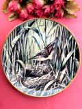 <RSPB:英国王立鳥類保護協会:WEDGWOOD>「Sedge Warbler」(スゲヨシキリ)樹の上を縦横無人に動く忍者の森の野鳥さん♪絵画のような美しくて大きな絵皿「壁掛けハンガー付」
