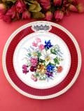 <フランス国立園芸協会>憧れのリモージュ♪「Bouquet Renaissance」華やかな花束の絵皿「スタンド付」