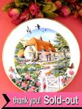 <FRANKLIN MINT:限定品>「Rose Cottage」♪英国カントリーサイドのバラが満開のコテージ♪金彩もきれいな絵皿