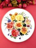 <THE ROYAL NATIONAL ROSE SOCIETY>「RADIANT SUNRISE」♪満開のバラたちの華やかな絵皿「パンフレット付」