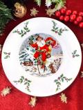 <英国流クリスマス>「1982年:ロイヤル・ドルトン」♪美しい雪原の森で自転車に乗ってやってくるサンタクロースのクリスマス・プレート