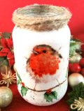 <英国流クリスマス>とても愛らしいクリスマスロビンのハンドメイドの大きめボトル