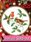 <英国流クリスマス:Spode>「GARDEN BIRDS」♪豪華な金彩と緑のヒイラギと赤いロビンの大きなクリスマス・プレート