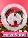 <MORGANTOWN CRYSTAL>「1988年The Holy Family」まるで水晶のように光輝く素晴らしいクリスタルガラスの大きなクリスマスプレート「スタンド付」