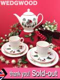 <英国流クリスマス:WEDGWOOD>「WINDSOR CHRISTMAS」クリスマスの村の楽しいティーセット「7点組」