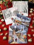 <英国流クリスマス>キラキラ輝く♪ロマンチックな英国のクリスマスカード「2種セット:封筒付」
